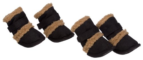 "Pet Life Shearling ""Duggz"" Dog Boots in Black & Brown - X-Small"