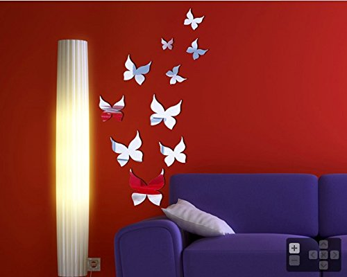 """Butterfly's Design Silver Acrylic Mirror (Cover area 12"""" W X 23"""" H)"""