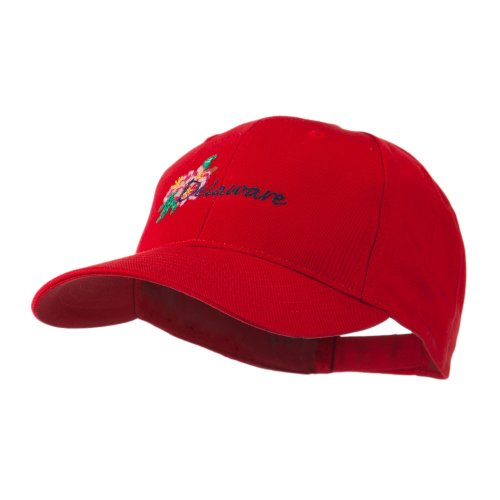 Usa State Flower Delaware Peach Blossom Embroidered Cap - Red Osfm