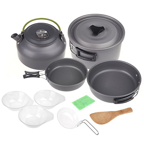 Docooler® Aluminum Oxide Outdoor Camping Pot Set Hiking Backpacking Cookout Picnic Cookware Teapot Coffee Kettle Set All in One 2 - 3