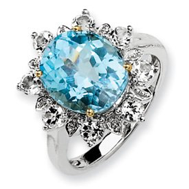 Genuine IceCarats Designer Jewelry Gift Sterling Silver & 14K Sky Blue & White Topaz Ring Size 8.00