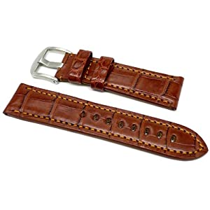 DaLuca OEM Style Alligator Watch Strap - Brown : 22mm