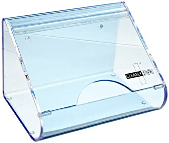 Heathrow Scientific HD1041 Blue Acrylic Clearly Safe Small Safety Glasses Holder, 227mm Length x 162mm Width x 156mm Height
