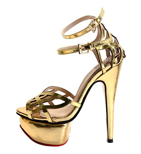 Onlymaker Ladies Women'S High Heel Fashion Sandals Peep Toe Gold Strap Shoe Handmade For Wedding Party Dress Stiletto Shoes Coppy Leather Gold Us Size 8