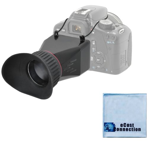 "Elite Series 3.4X Magnification Adjustable Lock-In-Place Lcd Viewfinder + Microfiber Cloth For Canon T1I T2I T3I T4I T5I Sl1 40D 50D 60D 70D 6D 7D Dslr With 3"" Lcd Screen"