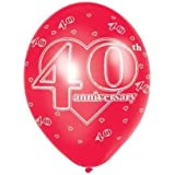 """Pack of 6 40th Anniversary (Red) Printed Latex Balloons -11"""""""