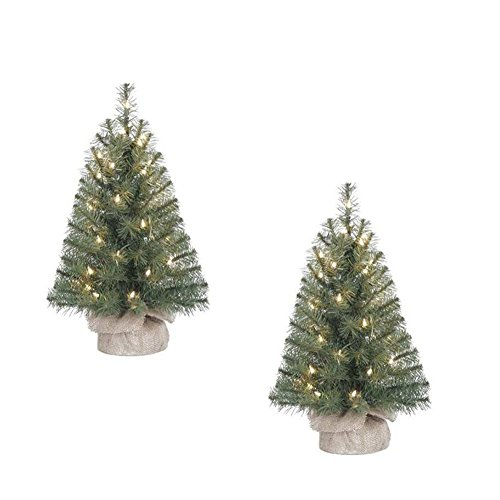 Holiday-Time-Two-Xmas-Pre-Lit-2-Noble-Fir-Artificial-Trees-Clear-Lights-Burlap-Base-Christmas-Tree-Stands-pk-of-2