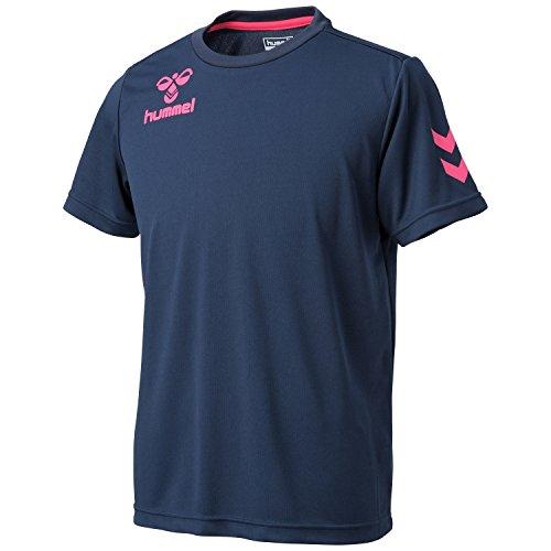(ヒュンメル)Hummel ワンポイントドライTシャツ HAY2061 7024 ネイビー×S.ピンク O