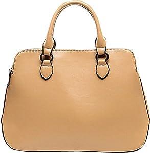 Buenocn Women's Leather Fashion Double Zippered Tote Cross Body Shoulder Bag Handbag Shy263 (small, khaki)