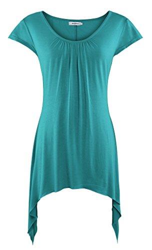 Bepei Womens Short Sleeves Scoop Neck Handkerchief Hemline Tunic Top Green S