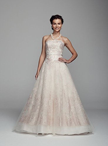 Lace Organza Ball Gown Wedding Dress with Embroidered Applique Detail Style...