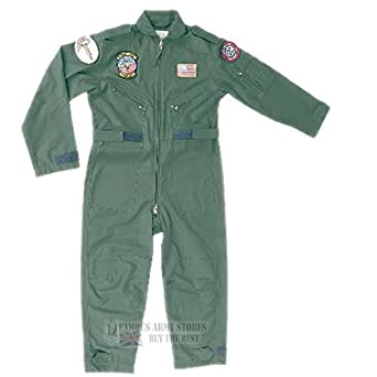 Colour: OLIVE GREEN   Size: XS Extra Small 3-4 years AGE   Type: Flying Overall Soldier Child Childrens Costume RAF   Badges Attached: Top Gun Tomcat F14 VSTFE