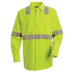 Buy Red Kap Hi-Visibility Work Shirt - Class 2 Level 2, FLUORESCENT YELLOW GREEN, LNXXL SS14HVLNXXL by Red Kap