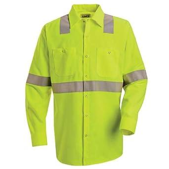 Buy Red Kap Hi-Visibility Work Shirt - Class 2 Level 2, FLUORESCENT YELLOW GREEN, LNL SS14HVLNL by Red Kap