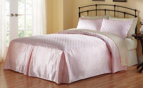 Elegant Quilted Satin Bedspread King Blush