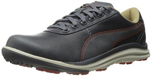 PUMA Men's Biodrive Leather Golf Shoe, Steel Gray/Spicy Orange, 10.5 M US