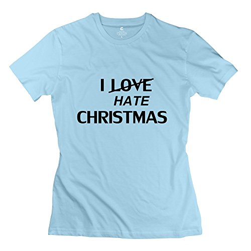 Ywt Christmas Xmas Gifts Women'S T Shirts Short Sleeve Cool Skyblue