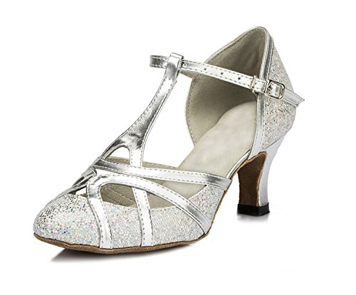 Minishion QJ6133 Women`s Kitten Heel Silver Pleather Glitter Salsa Tango Ballroom Latin T-Strap Dance Shoes Wedding Pumps 6.5 M US