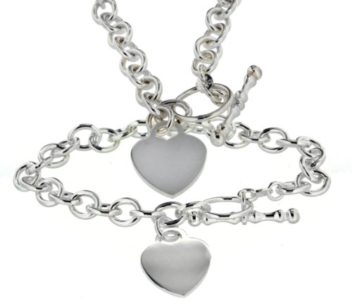 Silver Set of Oval Heart T-Bar Chain and Bracelet 46cm/18cm