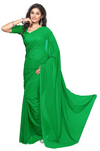 Sonika Faux Chiffon Plain Solid Saree (Parrot Green)