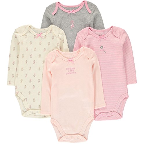 Wan-A-Beez Unisex Baby 4 Pack Long-Sleeve Bodysuits (18 Months, Pink Print)