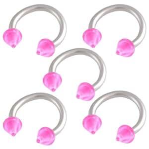 5 pcs arcade anneaux piercing fer a cheval oreille tragus acier 1 2mmx8mm rose bijouterie fmiq. Black Bedroom Furniture Sets. Home Design Ideas