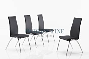Contemporary Set of Four Black Stackable Dining Room Chairs with Shiny Chrome Bases