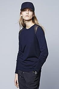 Long Sleeve Sheer Inset Crewneck Sweater