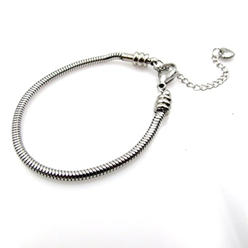 BRCbeads Top Quality Stainless Steel Bracelet Snake Chain Fit Murano Lampwork European Glass Beads Charms Spacers Pandora Troll Chamilia Carlo Biagi 7.5 Inch with Lobster Claw Clasp Extender Chain