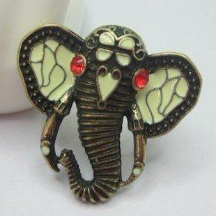 JE256 Retro Ring, Elefanten Künstliche Rubin Ring, Tier Ring, Einstellbar Größe Ring