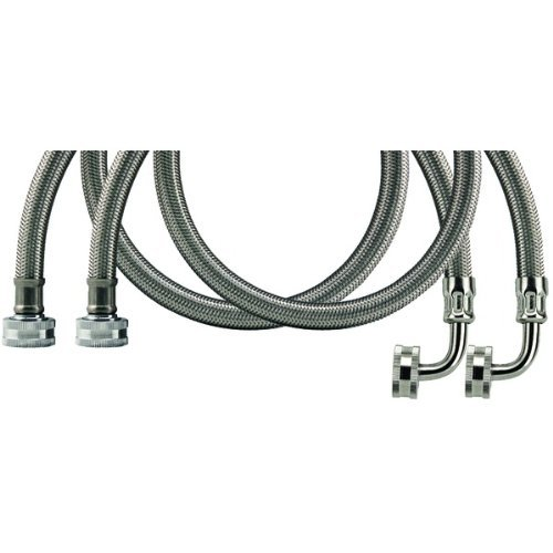 Savard Wmsl5 2-Pk C003415 Braided Washing Machine Connectors With Elbow 5-Feet, 2-Pack front-425816
