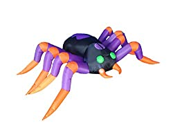 8 Foot Long Halloween Inflatable Black Purple Spider 2015...