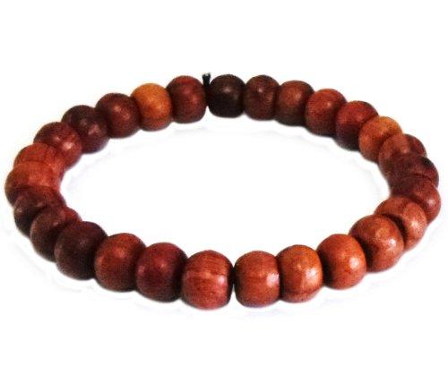 Wood Teak Thai Buddhist Wooden Prayer Blessed Beads Mala Brown Color Wristband Bracelet From