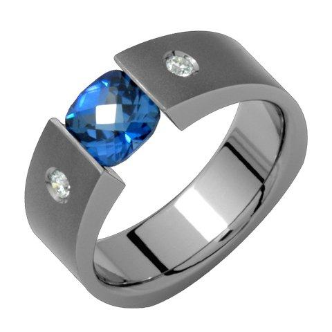 Bleu - Beautiful Tension Set Sapphire & Diamond Titanium Ring. Choose Any Size!