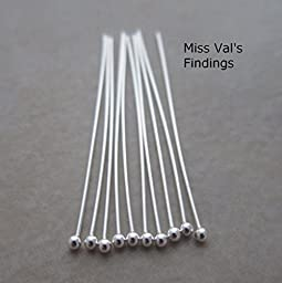 20 Sterling Silver Headpins 1.5 Inch 24 Gauge 1.3mm Ball