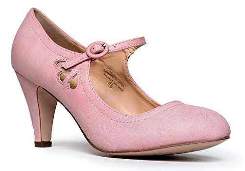 Mary-Jane-Pumps-Low-Kitten-Heels-Vintage-Retro-Unique-Scallop-Detail-Round-Toe-Shoe-with-Adjustable-Strap-Honey-by-J-Adams