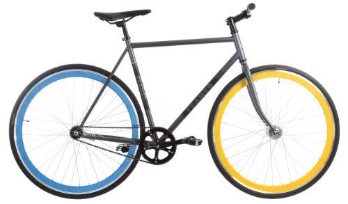 Framed Lifted LTD Flat Bar Bike Single Speed Grey/Blue/Yellow 52cm