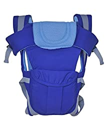 1 Pc Adjustable Hands-Free 4-in-1 Baby Carrier with Comfortable Head Support & Buckle Straps - Color: Blue