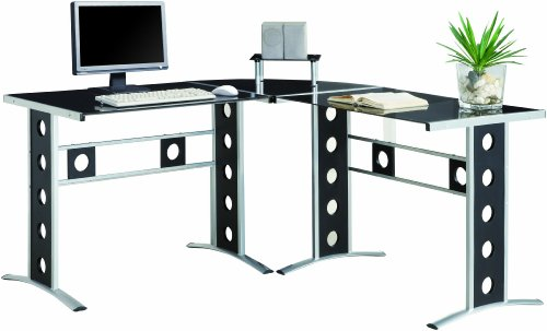 Buy Low Price Comfortable Coaster L-Shaped Computer Desk, Black (B004T37ACK)
