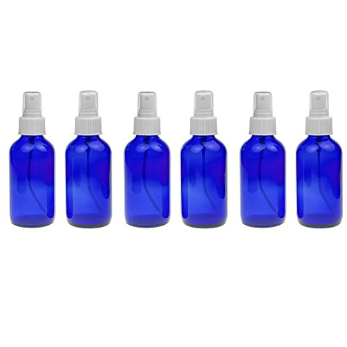 6 Empty Blue Glass Spray Misters - 4oz Refillable Bottle for Essential Oils, Organic Beauty Products, Cleaners and Aromatherapy with a White Mist Dispenser -6 Pack (Blister Kit Vaporizer compare prices)