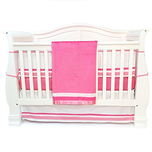 One Grace Place Simplicity Infant Crib Bedding Set, Hot Pink/White, 4 Piece - 1