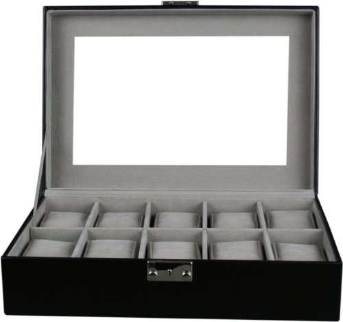 Shining Image Kendal Watch Case Display Box With Clear Glass Top Holds 10 Watches lock w/ key