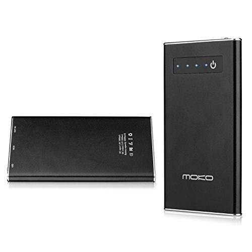 MoKo 4000mAh Aluminum Ultra-Thin Portable Backup External Battery Charger Power Bank, for Apple iPhone 6, 6 plus, 5S, 5C, 5, 4S, 4, iPad Mini Retina, Mini 3, iPad (First Generation), iPad 2 / 3 / 4, iPad Air, iPad Air 2, iPad 6, iPod, iPod touch, Samsung Galaxy S5, S4, S3, S2, S, Note 4, Note 3, Note 2, Note, Nexus 6, Other Android Smart Phones, Gopro Cameras, PS Vita, MP3, MP4, and More Digital Products, BLACK