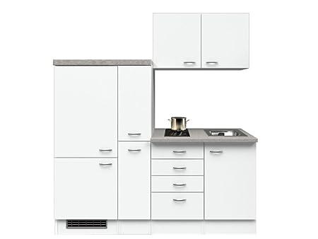 Singlekuche 190 cm Weiß mit Demi Apothekerschrank & Glaskeramikkochfeld - Witus