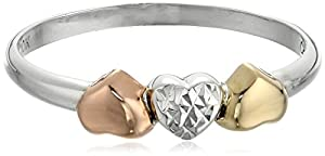 10k Yellow and Rose Gold Sterling Silver Anti-Tarnish Three-Tone Triple Heart Ring, Size 7