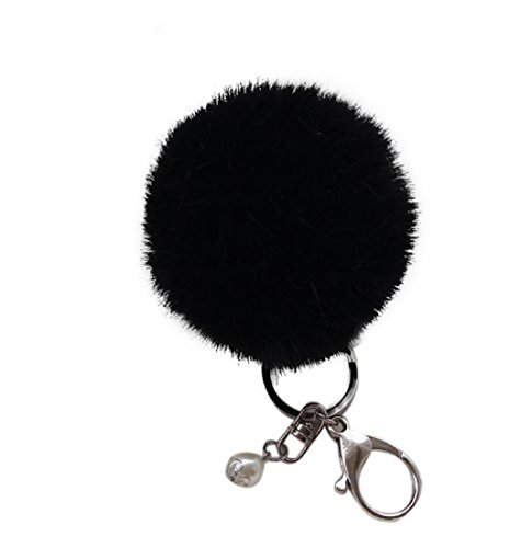 Keychains, Mikey Store Rabbit Fur Ball Keychain Bag Plush Car Key Ring Car Key Pendant (Black)