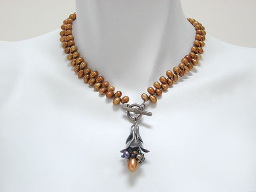 Copper Freshwater Pearl Bud Cluster Necklace