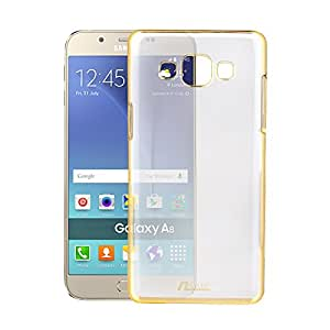 nCase Back Cover for Samsung Galaxy A8 (Transparent, Gold)