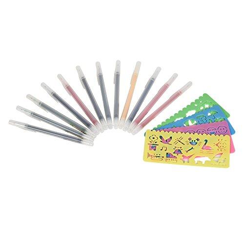 newlemo-penna-acquerello-12-packs-pennerelli-a-inchiostro-gel-inchiostro-colorato04mm-4-stencilpenna