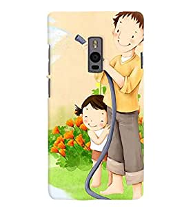 Printvisa Father Daughter Gardening Back Case Cover for One Plus Two